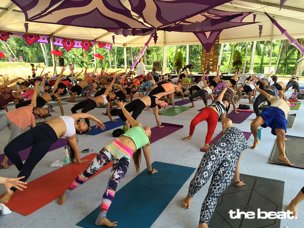 Dynamic Vinyasa class at the Main Pavillion
